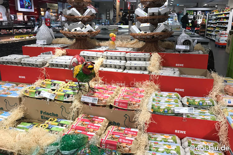 various eggs sold around easter season in supermarket