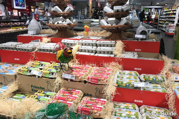 various eggs sold around easter season in supermarket