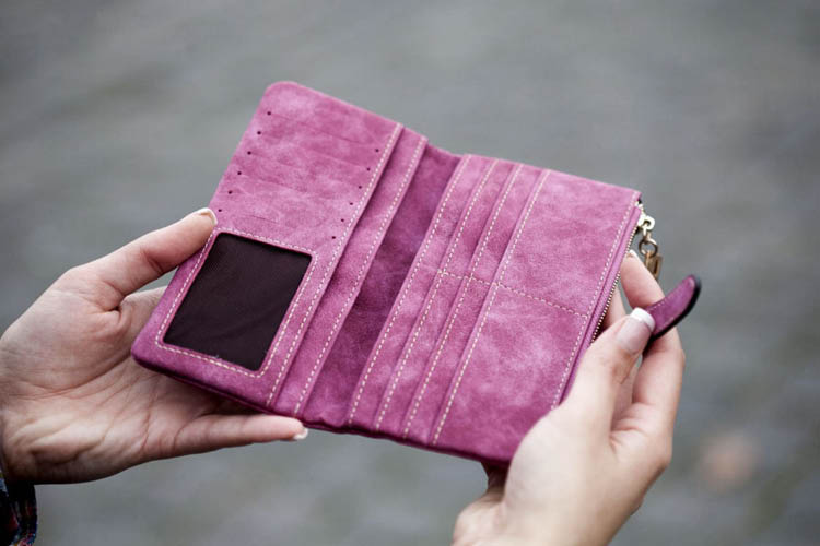 pink and empty wallet